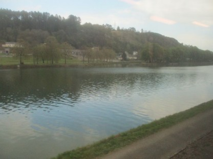 Train journey from Namur to Dinant.