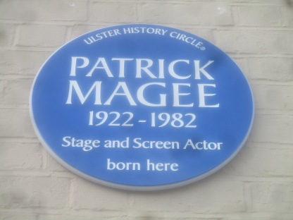 Blue plaque at the birthplace of the actor Patrick Magee in Armagh.