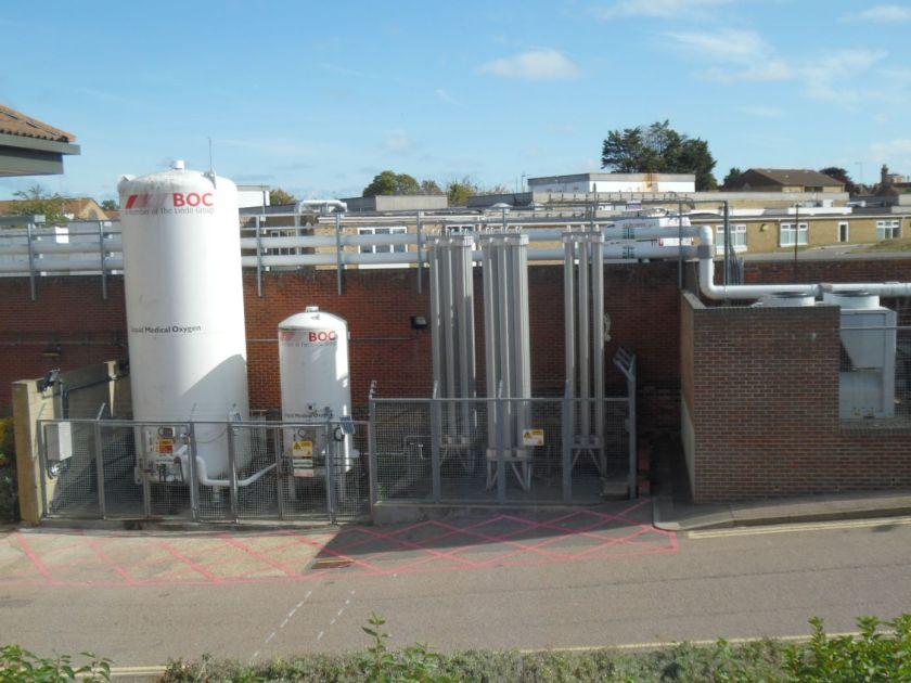 Oxygen tanks, QEQM hospital, Margate.