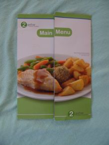 Menu, QEQM hospital, Margate.