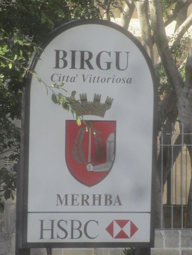 Town sign, Birgu, Malta.
