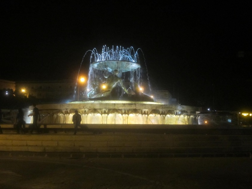 Triton Fountain at night, Valetta.