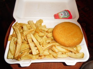 "Fishcake and ""small"" chips."