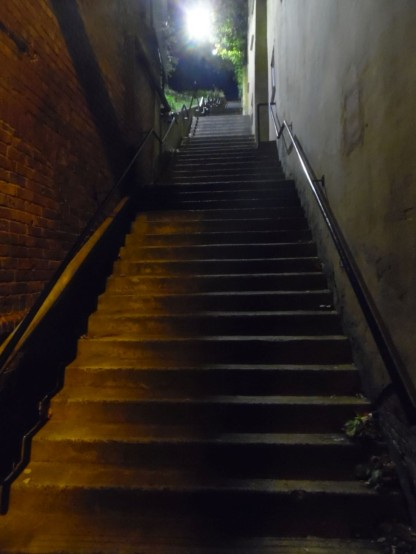 "A North Shields ""stair"" at night."