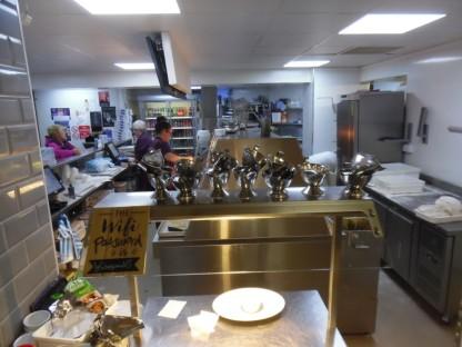 The spotless kitchen / servery.