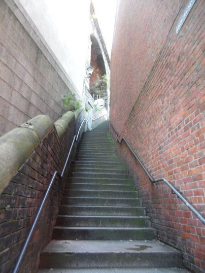 "A Newcastle ""stair"" in daylight."